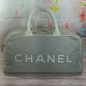 Auth Chanel Sport Line Quilted CC Boston Satchel